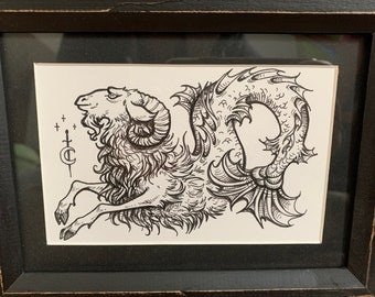 Capricorn +2 FREE PRINTS - art - ink drawing - zodiac - medieval - gift idea