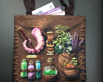 Witch Tote Bag - Magic - DND - Harry Potter - - mori style - LARP - renaissance fair - Video Game - RPG - cute fashion - Fairy - Steampunk