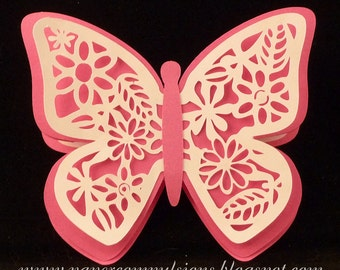 Butterfly Easel Card SVG cut files with Detailed Cutouts