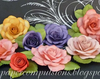 """Cut Files, templates, and video links for Handmade Paper Flower: """"Open rose"""""""
