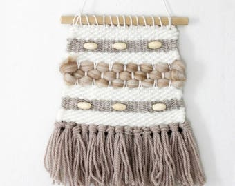 Small Bohemian Woven Wall Hanging, Tapestry Weaving