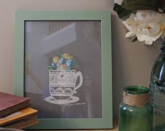 Cup Full of Flowers Linoleum Print