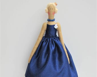 Ballerina doll, Princess doll fabric doll cloth doll cute stuffed doll blonde doll in blue glitter dress softie plush doll gift for girls