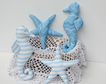 Stuffed seahorse starfish toy set plushie softie nautical aquatic nursery decor fish toy blue white baby shower gift child friendly soft toy