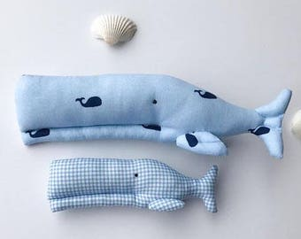 Stuffed whale toy plush softie blue whales nautical aquatic child friendly toys baby shower gift idea nursery decor