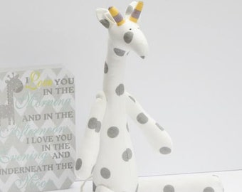 White gray giraffe toy handmade plush softie stuffed giraffe cute polka dot toy for kids girl boy birthday baby shower gift nursery decor
