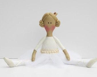 Princes doll, Ballerina doll, handmade rag doll fabric doll cloth doll stuffed doll white cream softie plush  gift for girls