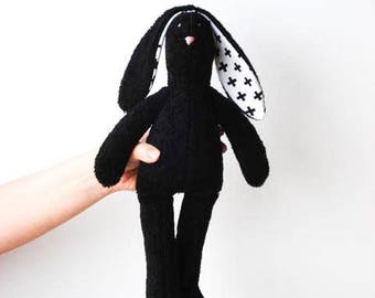 Black Bunny Stuffed Bunny Soft Terry Cloth Bunny Doll Rabbit Hare Softie Plush baby shower Boy Girl  gift idea for Monochrome nursery decor