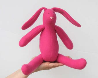 Stuffed bunny rabbit hare soft toy, pink fuchsia Easter bunny doll plush rabbit, bunny softie toy, gift for Easter baby shower nursery decor