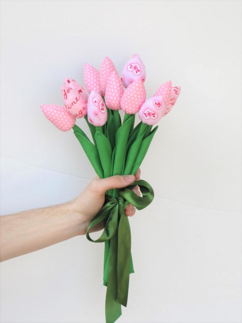 56152f847125c Fabric tulip flowers dozen of tulips light pink tulip flower | Etsy