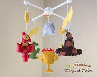 Baby Mobile - Baby Crib Mobile - Harry Potter Mobile - Nursery Harry Potter Mobile - Sorting Hat, Owl, Dragon, Cauldron / Magician Mobile