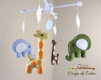 """Baby Mobile - Baby Crib Mobile - Nursery Elephant Giraffe Mobile - Safari Mobile """"Baby Giraffes & Elephants""""(You can pick your colors)"""