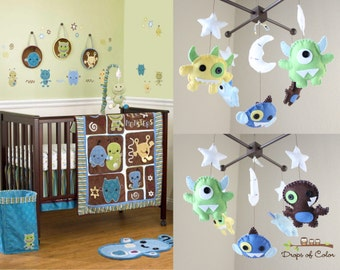 Baby Mobile - Baby Crib Mobile - Nursery Monsters Mobile - Aliens Monsters Mobile (You Can Pick Your Colors)