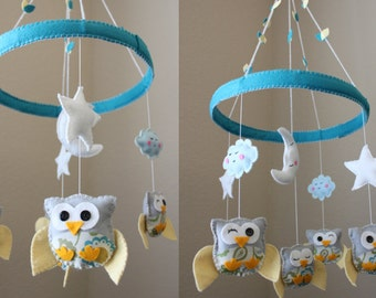 """Baby Crib Mobile - Baby Mobile - Decorative Baby Nursery Mobile - """"Baby Owls in the Circle of Love"""" Design (You can pick your colors)"""