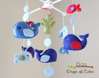 Baby Mobile - Baby Crib Mobile - Jackson Whale Nursery Mobile - Blue and Red Whales and Fish (You Can Pick Your Colors)