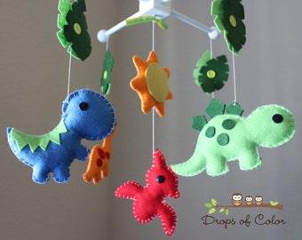 "Baby Crib Mobile - Baby Mobile - Dinosaur Mobile - Nursery Crib Mobile - ""Dino Land / Dinosaurs"" Design"