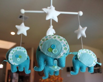 "Baby Mobile - Baby Crib Mobile - Nursery Elephant Mobile ""Rock-a-Bye-Baby-Elephant"" (You can pick your colors)"