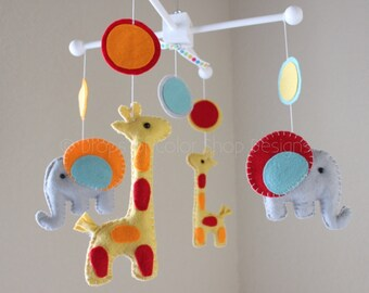 """Baby Mobile - Baby Crib Mobile - Nursery Elephant Giraffe Mobile - Safari Mobile """"Baby Giraffes & Elephants"""" (You can pick your colors)"""