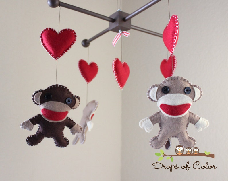 Baby Mobile Baby Crib Mobile Sock Monkey And Hearts Etsy
