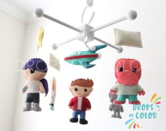 Baby Mobile, Baby Crib Mobile, Cartoon TV Inspired, Geek Nursery Room Decor, Robots Spaceship, Rocketship, Future