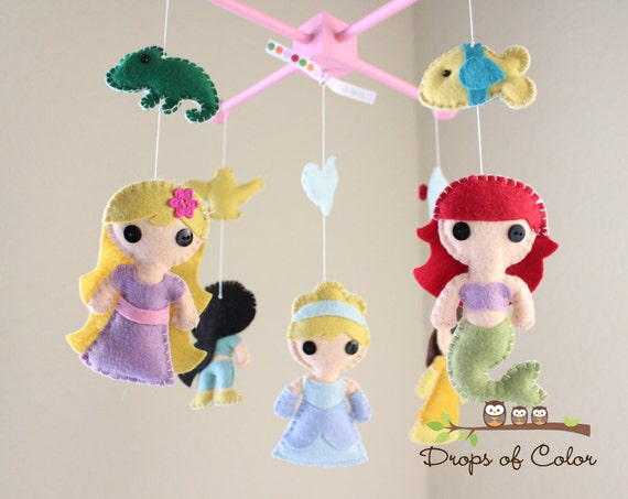 Baby Mobile Baby Crib Mobile Princess Mobile Girl Etsy
