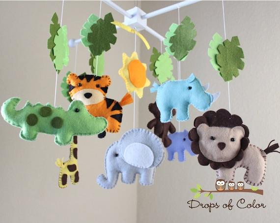 safari baby mobile animals baby crib mobile neutral girl etsy