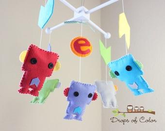 Bebé móvil de cuna - el bebé - Robot móvil - Chevron corazón Robot móvil (usted puede elegir sus colores)