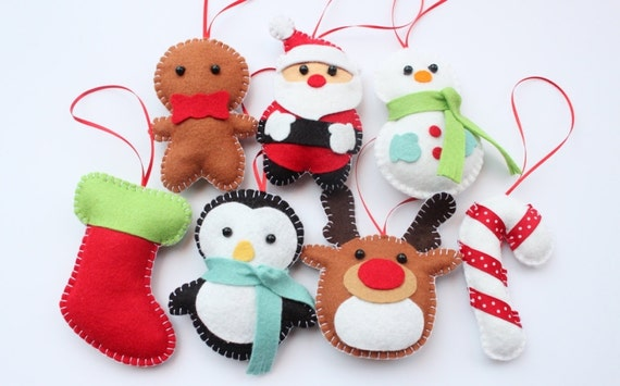 image 0 - Set Felt Plush Christmas Ornaments Santa Claus Snowman Etsy