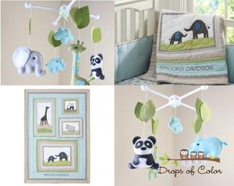 Baby Mobile - Baby Crib Mobile - Nursery Elephant, Giraffe, Panda and Rhino Mobile - Safari Mobile - Made 2 Match Brooks Bedding