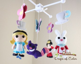 Baby Mobile - Baby Crib Mobile - Tea Party Mobile - Alice in Wonderland - Girl Nursery Room Decor