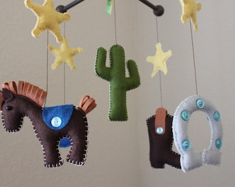 """Baby Crib Mobile - Baby Mobile - Nursery Rodeo, Cowboy Mobile, Texas """"Cowboy Western"""" (You can pick your colors) Mobile - Crib Mobile"""