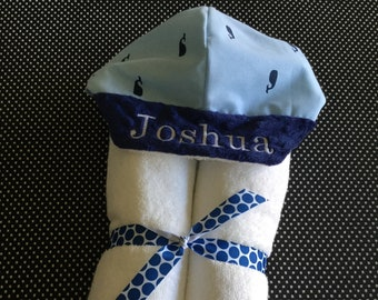 Blue Whales Hooded Towel