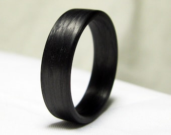 Carbon Fibre Ring - Black Band Ring - Simple Wedding Ring - Automotive
