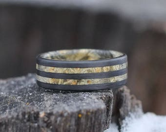 Mens Ring - Carbon Fiber Wedding Band with Wood