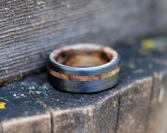 Maple Wood Ring Bound in Carbon Fiber