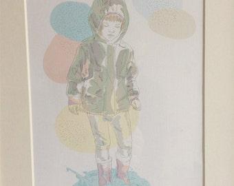 """Kunstdruck, art print, """"Mädchen in der Pfütze"""""""
