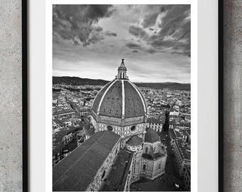 Black White cathedral print,Duomo of Florence Black white architecture Italy print, travel to Italy, minimalist wall art, living room decor