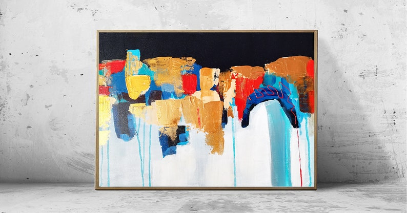 Abstract Painting Red Navy Gold Foil Original Shapes Blue Wall Art Abstract White Turquoise Gold Leaf Painting Modern Contemporary