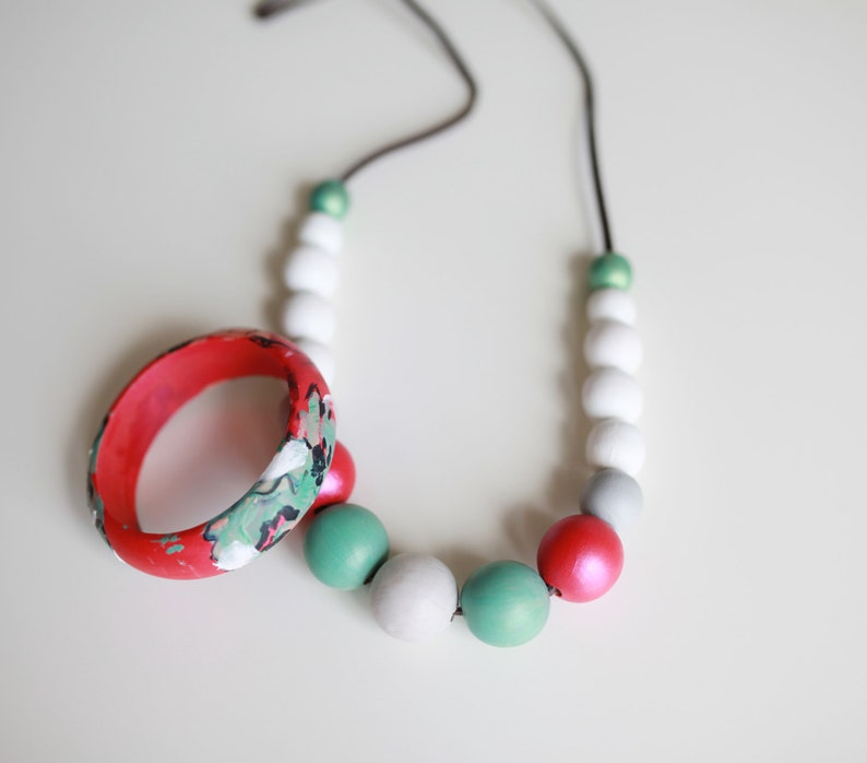 chunky wooden beads Wood hand painted pastel necklace Pink white mint necklace necklace and bangle hand painted fuchsia pink mint