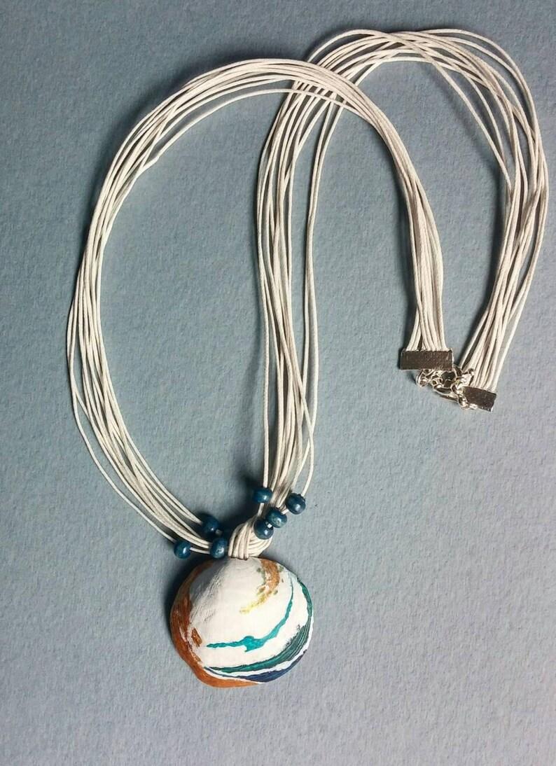 Sea organic seashell Mermaid hand painted pendant Painted sea shells necklace Summer Wedding Beach turquoise Ocean Nautical Pendant