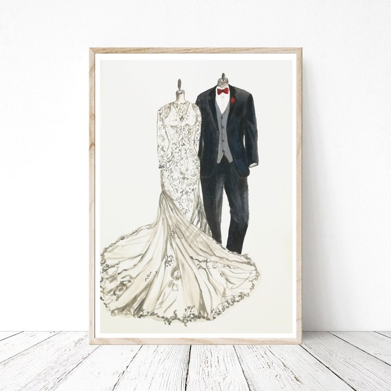 d3e0357a54 Wedding dress sketch and tuxedo drawing bride and groom