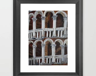 Venice staircase painting, columns Original Painting, staircase palace in Venice, Artwork Acrylics, architecture, marble Home decor wall art