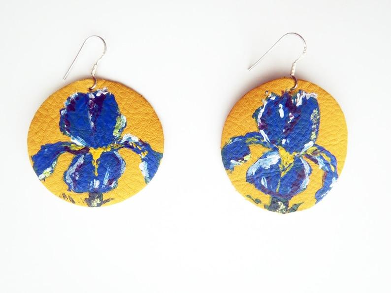Blue iris earrings Van Gogh Irises inspired earringsGolden image 0