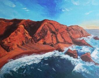Aerial Beach sunset painting, Coastal Artwork, navy blue wall art, Portugal coast beach art,  art nautical style, sunset ocean