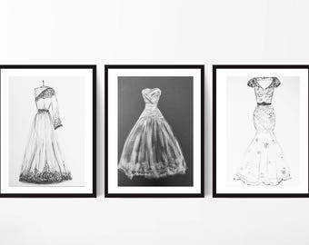 Wedding illustration, Custom Wedding sketch First Year Paper Anniversary Gift Wedding Gift, hand drawn, bridal illustration, dress sketch