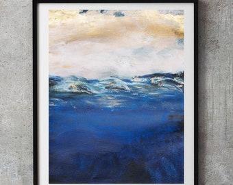 Navy blue abstract, bronze gold nautical Ocean art, Navy Blue Wall Art, Navy Decor, navy blue art, abstract beach