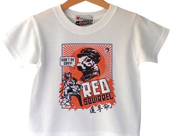 7f571a74 Red Squirrel - Che / Revolution style kids t-shirt. Alternative toddler tee  / Cool kid gift