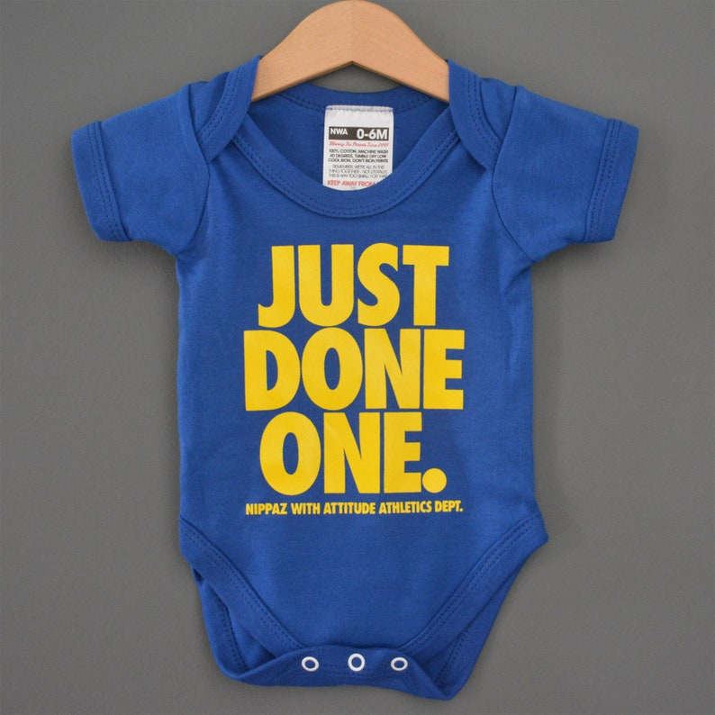 6206e8ab2f83 Just Done One Blue Baby Onesie Romper   Babygrow