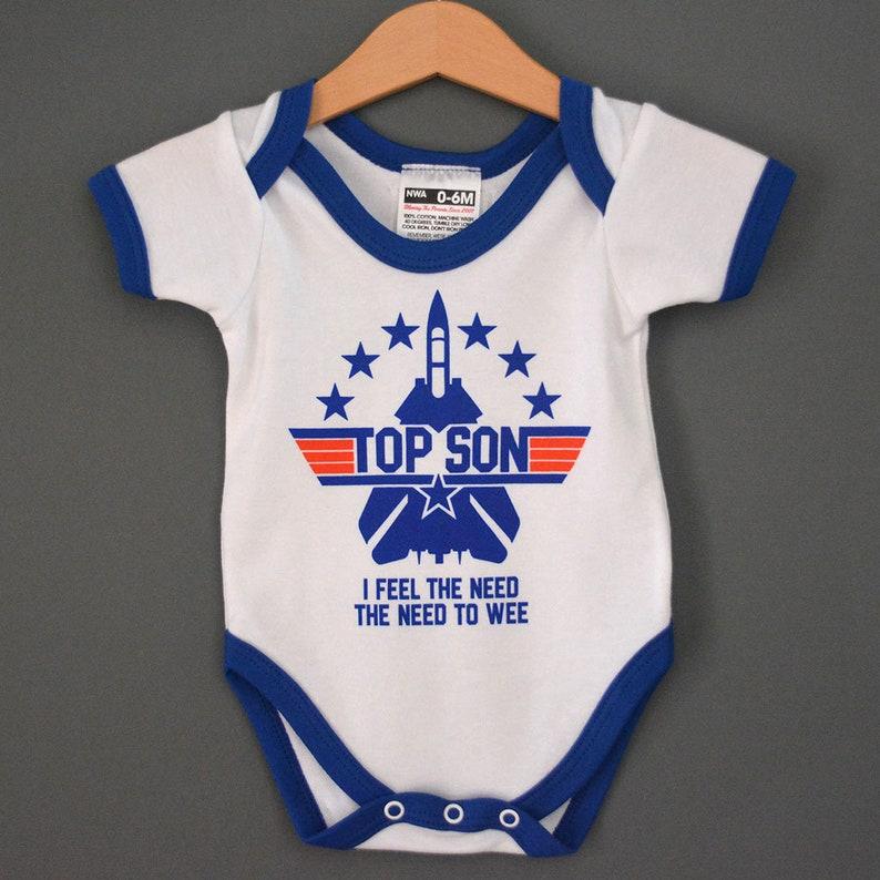 b8d5e9167b87 Top Son Top Gun   Tom Cruise theme babygrow onesie