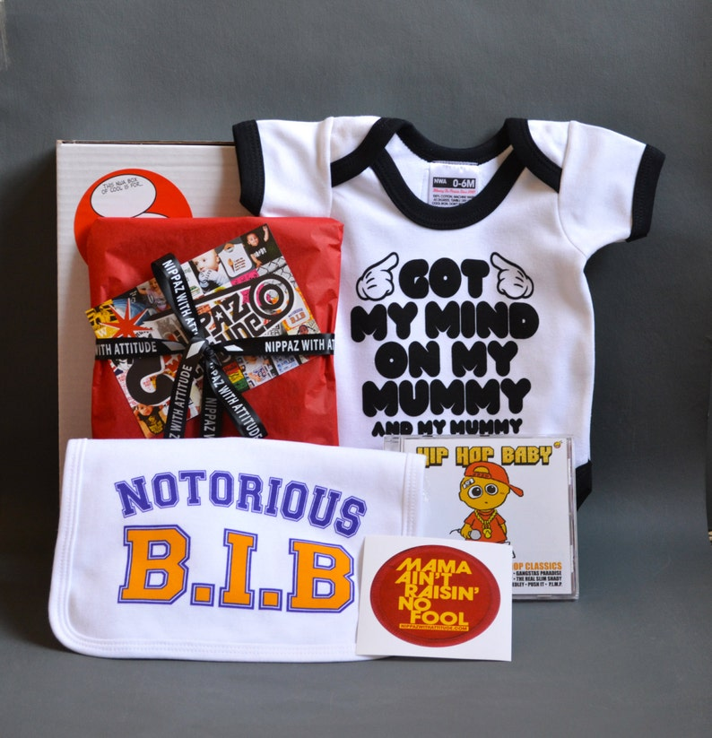 Got My Mind On My Mummy, fun newborn Snoop Dogg Baby Gift Box  Black or  pink bodysuit, Notorious BIB, Hip Hop Lullaby CD Unique new mom gift